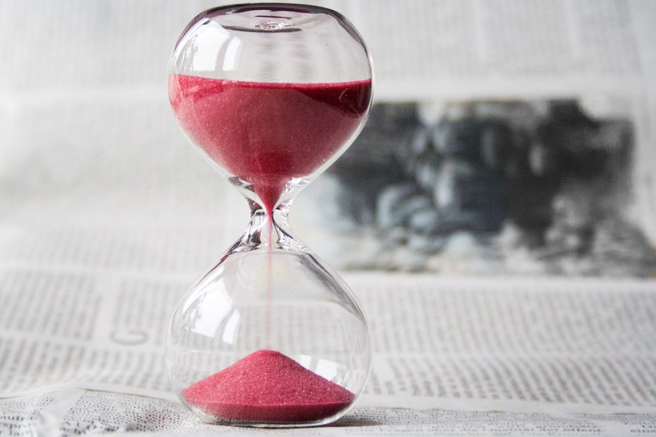 Hourglass serving as a time tracker in saving time effectively